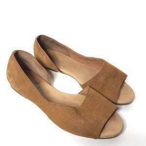 Pure Jill D'Orsay Leather Peep Toe Flats